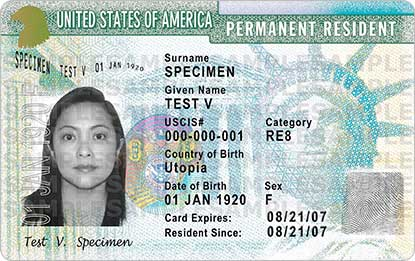 Picture of a sample green card